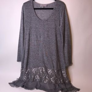 Pretty Angel Gray Long Sleeved Dress w/Lace Accent